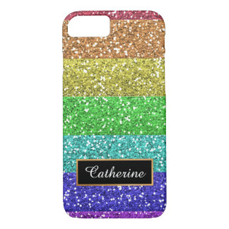 Glitter Rainbow Personalized  with Name iPhone 7 Case