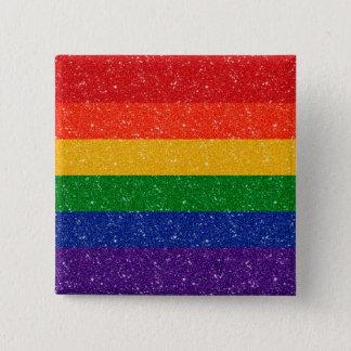 Glitter Rainbow Pride Flag 2 Inch Square Button