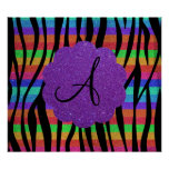 Glitter rainbow zebra stripes monograms poster