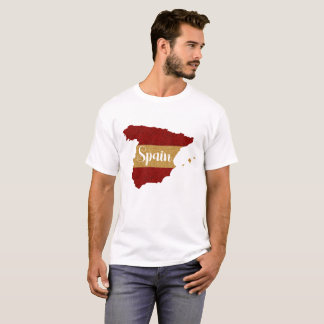 Glitter Red Yellow Flag Spain Map T-Shirt