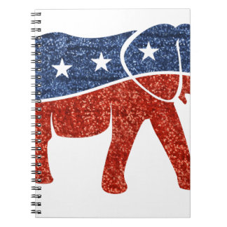 glitter republican elephant spiral note book