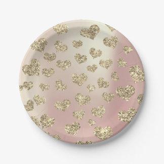 Glitter Rose Foxier Gold Hearts Confetti Sparkly Paper Plate