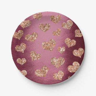 Glitter Rose Gold Hearts Confetti Burgundy Copper Paper Plate