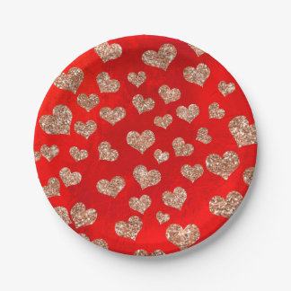 Glitter Rose Gold Hearts Confetti Red Vivid Copper Paper Plate
