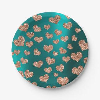 Glitter Rose-Gold Hearts Confetti Teal Gree Copper Paper Plate