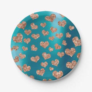 Glitter Rose Gold Hearts Confetti Tiffany Copper Paper Plate