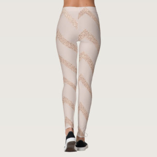 Glitter Rose Gold Strip Zig Zag Leggings