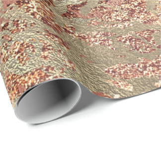 Glitter Rose Molten Copper Gold Marble Metallic Wrapping Paper