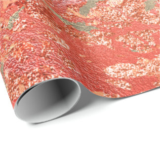 Glitter Rose Molten Coral Gold Marble Metallic Wrapping Paper
