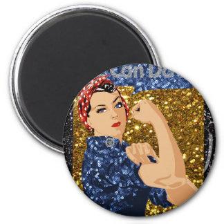 glitter rosie the riveter 2 inch round magnet
