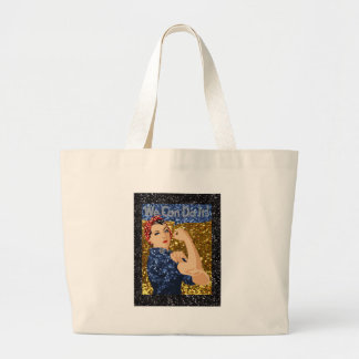 glitter rosie the riveter large tote bag