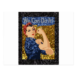 glitter rosie the riveter postcard