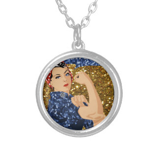 glitter rosie the riveter silver plated necklace
