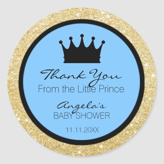 Glitter Royal Lil Little Prince Baby Shower Blue Classic Round Sticker