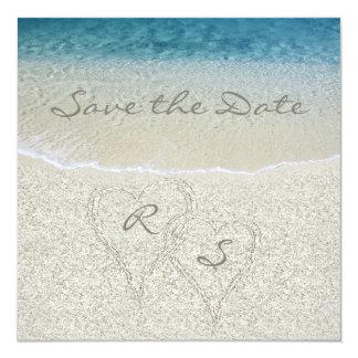 "Glitter Sandy  Beach Wedding Save the Date 5.25"" Square Invitation Card"