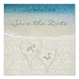"Glitter Sandy  Beach Wedding Save the Date 5.25"" Square Invitation Card"