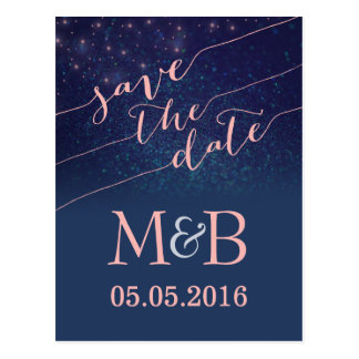 Glitter Save The Date postcards Blush and Blue