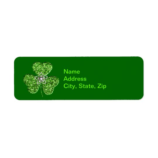 Glitter Shamrock And Flower  Address Labels
