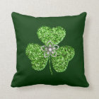 Glitter Shamrock And Flower Throw Pillow