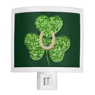 Glitter Shamrock And Horseshoe Night Light