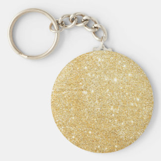 Glitter Shiny Luxury Golden Basic Round Button Keychain
