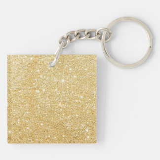 Glitter Shiny Luxury Golden Double-Sided Square Acrylic Keychain