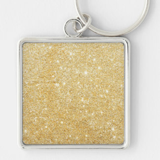 Glitter Shiny Luxury Golden Silver-Colored Square Keychain