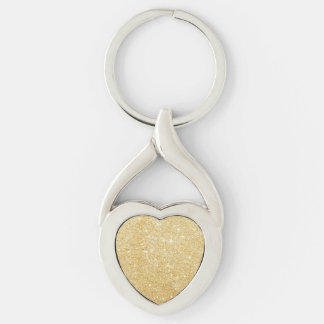 Glitter Shiny Luxury Golden Silver-Colored Twisted Heart Keychain