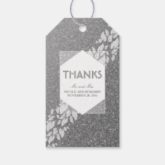 Glitter Silver and White Leaves Laurel Wedding Gift Tags