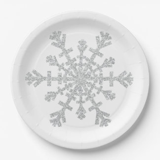 Glitter Silver Christmas Snowflake on White Paper Plate