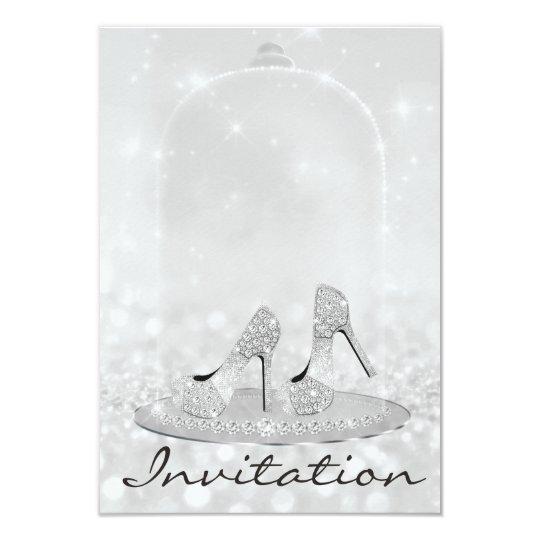 Glitter Silver Diamond Glass Shoes Heels Grey Lux Card