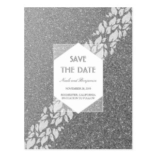 Glitter Silver Elegant Fab Save the Date Postcard