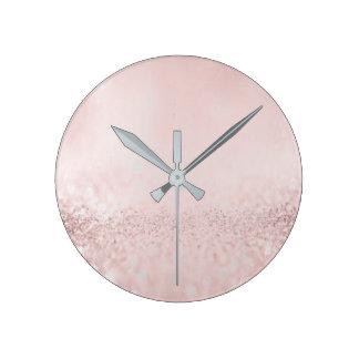 Glitter Silver Gray Minimal Metallic Bean Blush Round Clock