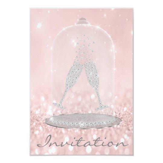 Glitter Silver Grey Pink Diamond Glasses Bubbles Card