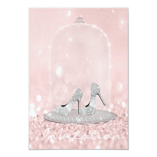 Glitter Silver Grey Pink Diamond Shoes Glitter Card