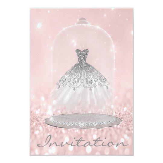 Glitter Silver Grey Pink Diamond Silver Dress Girl Card