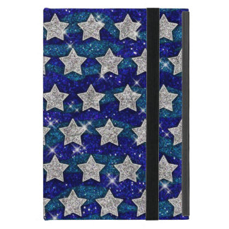 Glitter Silver Stars Glitter Blue Waves Sparkle Case For iPad Mini
