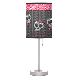 Glitter Skull Dia de Los Muertos Day Of the Dead Table Lamp