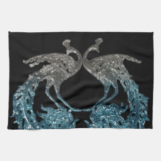 Glitter Sliver and Blue Peacock Kitchen Towel