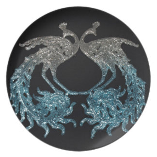 Glitter Sliver and Blue Peacock Plate