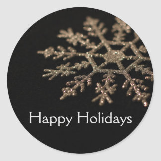 Glitter Snowflake Happy Holidays Classic Round Sticker