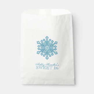 Glitter Snowflake Teal Sweet 16 Winter Wonderland Favour Bag