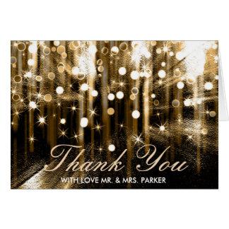 Glitter Sparkle Lights Confetti Wedding Thank You Card
