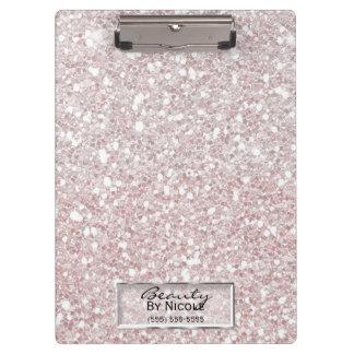 Glitter Sparkle White Stripes Modern Personalized Clipboard
