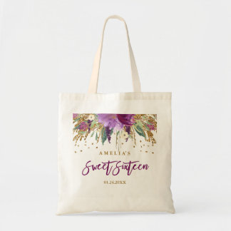 Glitter Sparkling Amethyst Sweet 16 Tote Bag