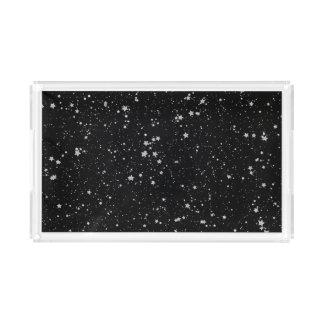Glitter Stars2 - Silver Black Acrylic Tray