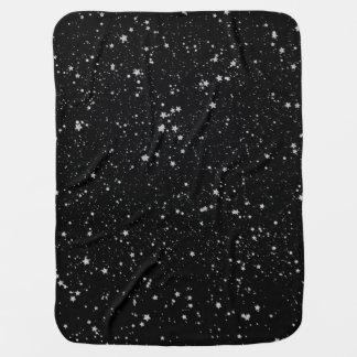 Glitter Stars2 - Silver Black Baby Blanket