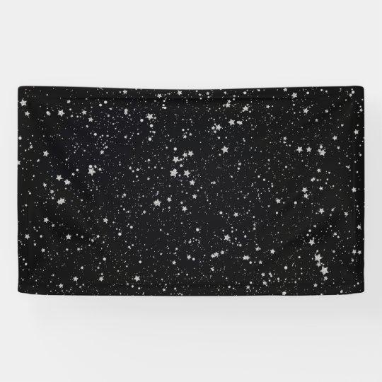 Glitter Stars2 - Silver Black Banner