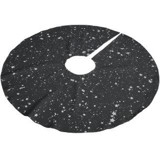 Glitter Stars2 - Silver Black Brushed Polyester Tree Skirt