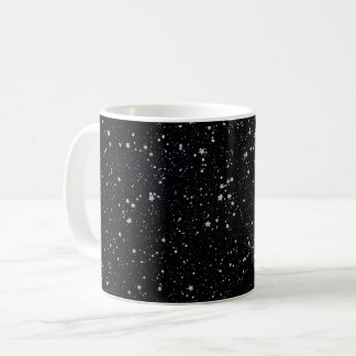 Glitter Stars2 - Silver Black Coffee Mug